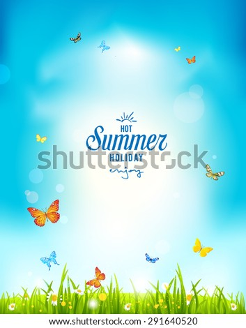Summer holiday positive background for advertising, leaflet, cards, invitation and so on. Copy space. - stock vector
