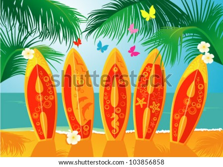 Summer Holiday Postcard - surf boards with hand drawn text Aloha - stock vector