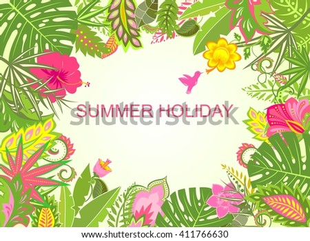 Summer holiday tropical background - stock vector