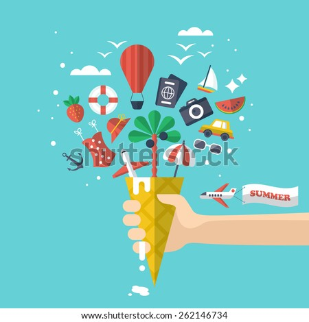 Summer holiday vacation concept with flat modern icons inside ice cream - stock vector
