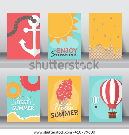 summer, holiday, vacation poster set. flat design. can be use for greeting and invitation card.  background , backdrop.  layout template in A4 size. vector illustration - stock vector