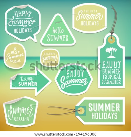 Summer holiday vacation stickers and labels design. Vector eps10. - stock vector