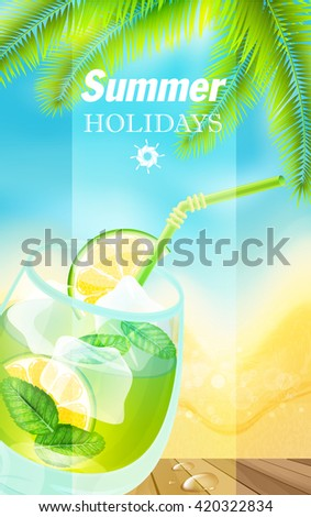 Summer holiday vacation travel background. - stock vector