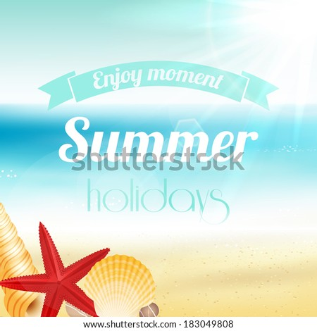 Summer holiday vacation travel background poster with seascape starfish and seashells vector illustration - stock vector
