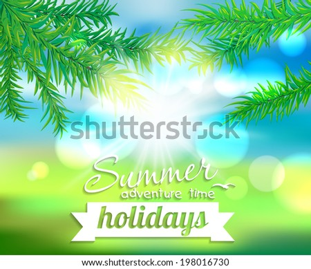 Summer holiday. Vector background blur effect, sunlight and branches of a tree - stock vector