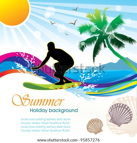 Summer holiday vector design 02 - stock vector