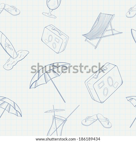 Summer Holiday Vector Hand Drawn Seamless Pattern - stock vector