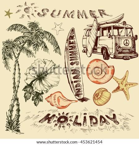 Summer holiday vector set, surf elements - stock vector