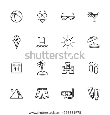 Summer holidays and vacation thin line icons - stock vector