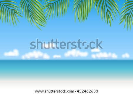 Summer Holidays background. Palm leaves, fluffy clouds, blue sea, white sand. Tropical beach. Vector backdrop. - stock vector