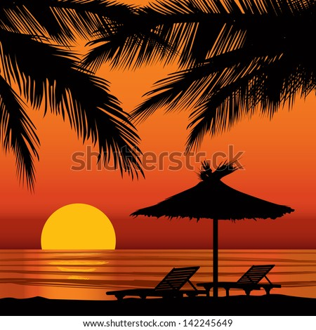 Summer Holidays Background With Palm Tree And Lounge Chair Sunset View Poster Vector Beach