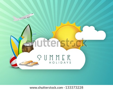 Summer holidays background with sun, flip flops, coconut water and airplane. - stock vector
