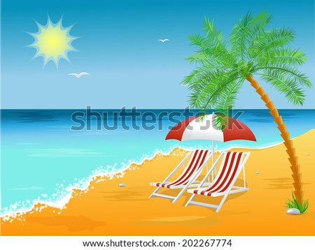 Summer holidays beach background poster with chair. vector illustration - stock vector