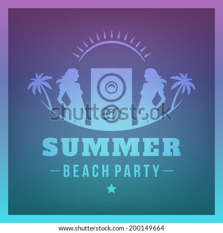 Summer holidays Beach Party poster vector background - stock vector