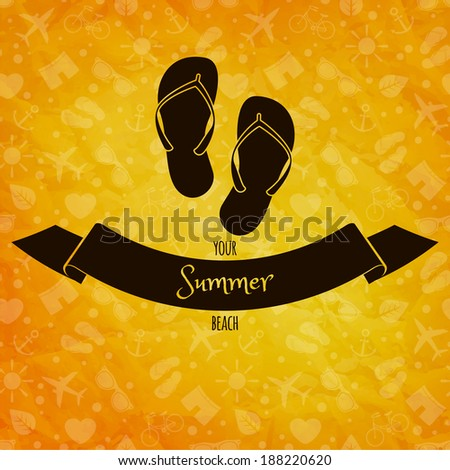 Summer holidays concept. Flip flops on sunny vector background. Retro label. Greeting card - stock vector