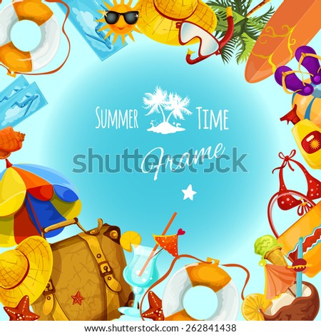 Summer holidays decorative postcard frame with travel and tourism elements vector illustration - stock vector