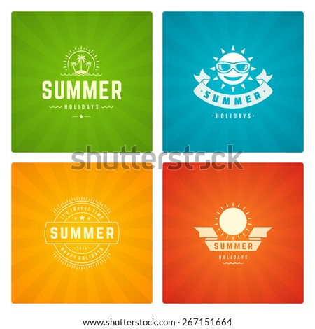 Summer holidays design elements and typography set. Retro and vintage templates. Labels, Badges, Posters, T-shirts, Apparel. Vector set. Beach vacation, party, travel, tropical paradise, adventure.