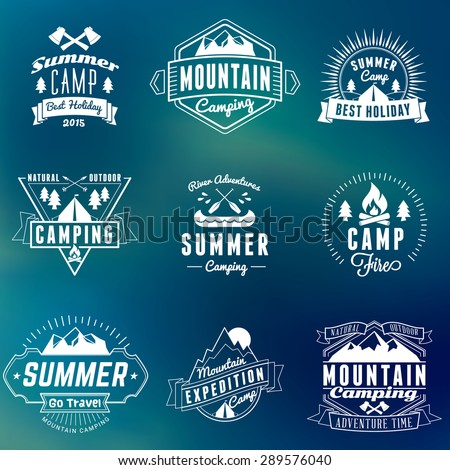 Summer Holidays Design Elements. Set of Hipster Vintage Logotypes and Badges on Colorful Background - stock vector