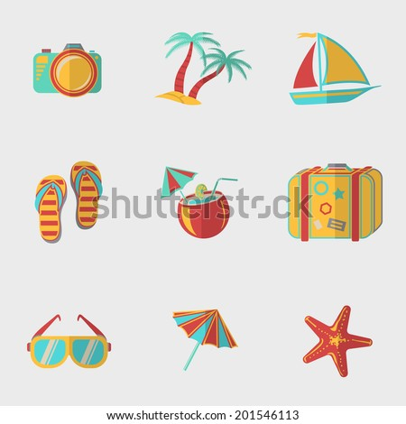 Summer holidays flat modern icons set with - coconut cocktail, fish star, slippers, palms, suitcase,beach umbrella,yacht,sun glasses, photo camera.
