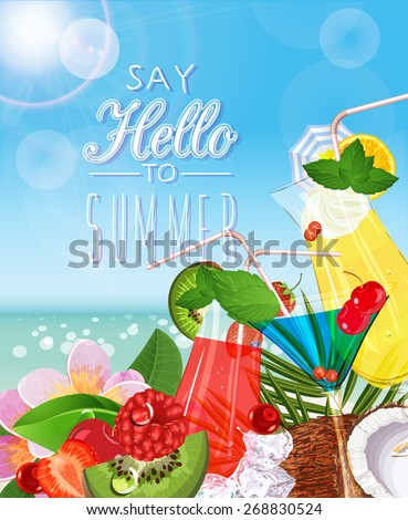 Summer holidays illustration. Poster with tropical plants, palm leaves, coconut, cocktails - stock vector