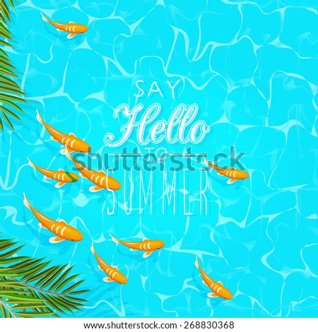 Summer holidays illustration. Seaside view on sunny day with fish and palm leaves. Top view. - stock vector