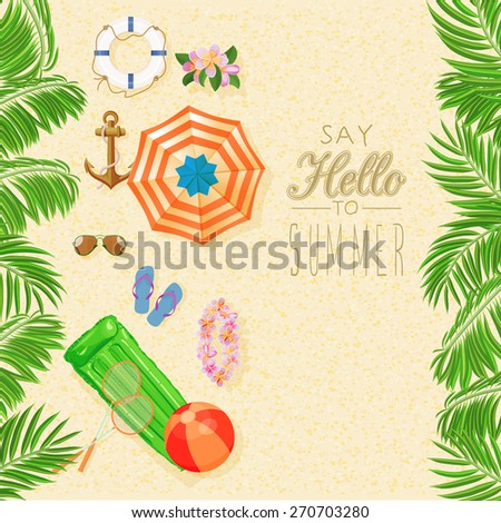 Summer holidays illustration. Seaside view on sunny day with sand, beach umbrella and palm leaves. Top view. - stock vector