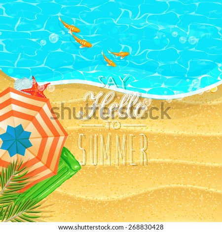 Summer holidays illustration. Seaside view on sunny day with sand, fish, beach umbrella and palm leaves. Top view. - stock vector