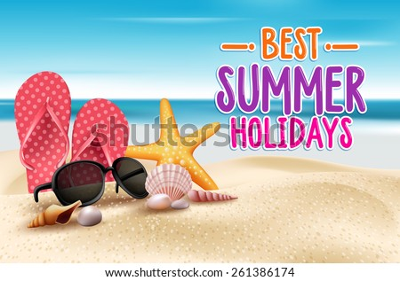 Summer Holidays in Beach Seashore. Vector Illustration - stock vector