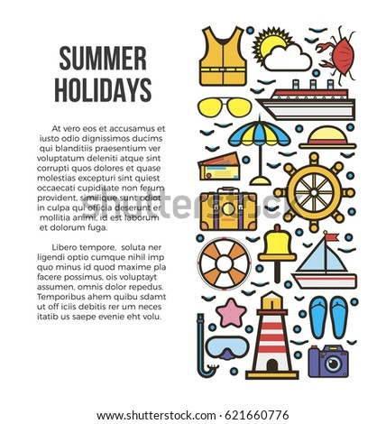 Summer Holidays Information List Vector Illustration Sun Bathes On Deck