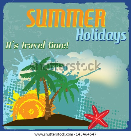 Summer holidays poster with splash and palms on vintage style, vector illustration