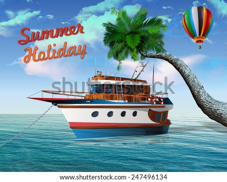 Summer holidays poster with yacht and palm tree - stock vector