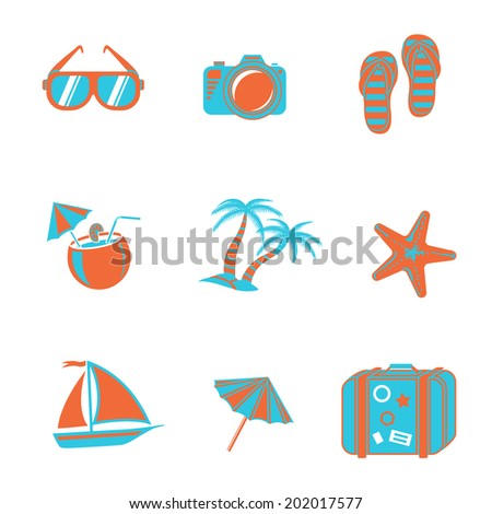 Summer holidays two colors icons set with - coconut cocktail, fish star, slippers, palms, suitcase,beach umbrella,yacht,sun glasses, photo camera.