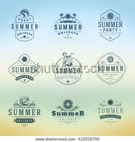 Summer Holidays Typography Labels or Badges Vector Design, Silhouettes and Icons for Posters, Greeting Cards and Advertising Vintage style.  - stock vector