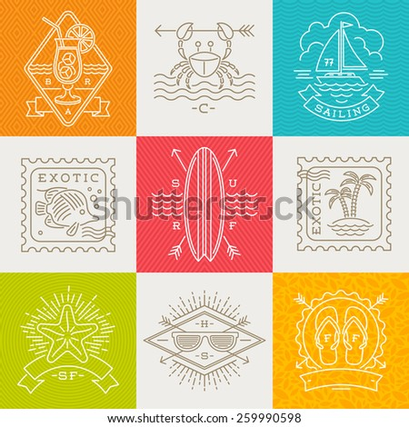 Summer holidays, vacation and travel emblems, signs and labels - Line drawing vector illustration - stock vector