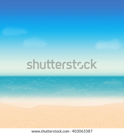 Summer holidays vector background with sea, sky, clouds and beach