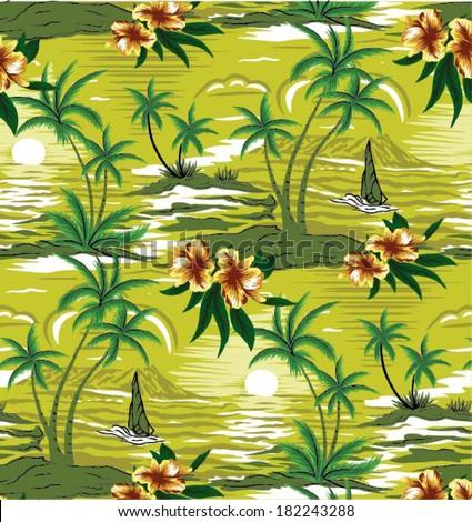 Summer holidays - vector.Coconut palm tree - stock vector
