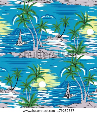 Summer holidays - vector.Coconut palm tree.Ocean and Blue Sky