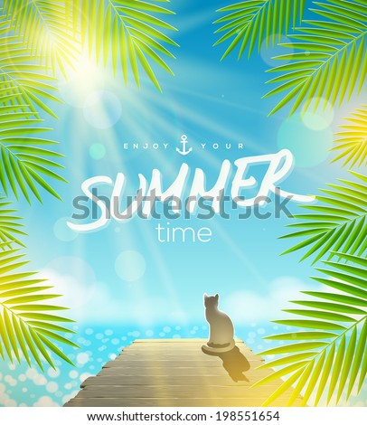 Summer Holidays vector design - Cat on the pier basking under ray of sun - stock vector