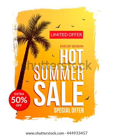 Summer Hot Sale discount template poster. Summer sale flyer special offer. Half price deal.