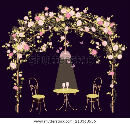 Summer House With Climbing Roses, Table And Chairs. Night Romantic  Background. Floral Vector