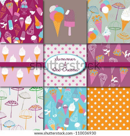 Summer & Ice Cream Collection - stock vector