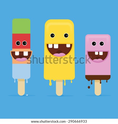 Summer Ice Cream with crazy smile face