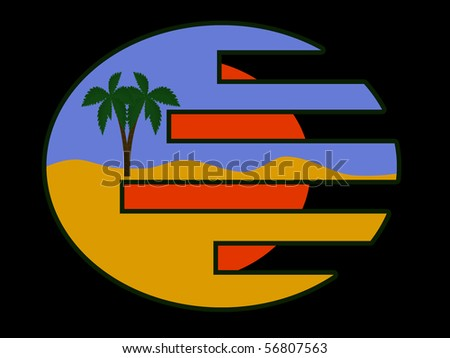 summer icon beach black background - stock vector