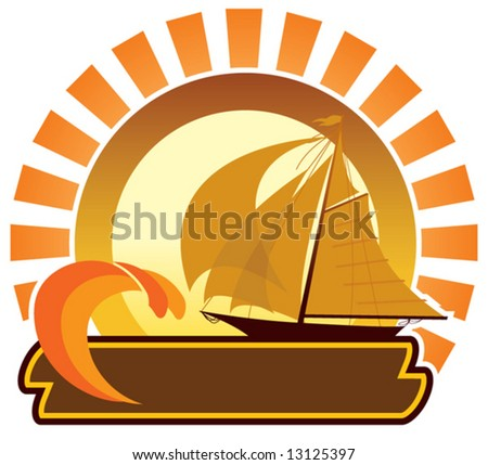 Summer icon - sailboat - stock vector