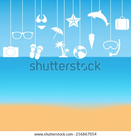 Summer icon set - stock vector