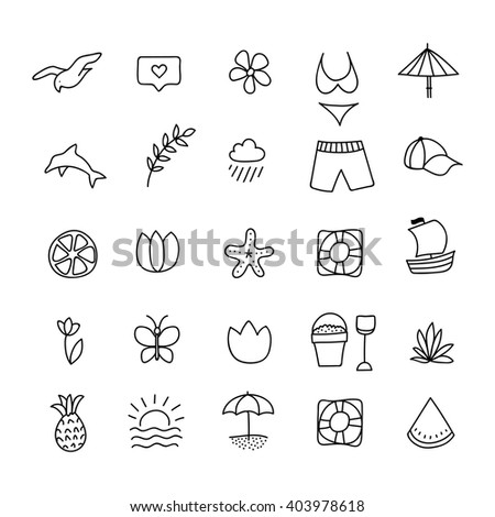 Summer icon set. Hand drawn design element. Beach vector icon, hand drawn icons set. Black and white beach vector icon collection. Summer icon set. Hand drawn design element. Summer icon set. Summer.  - stock vector
