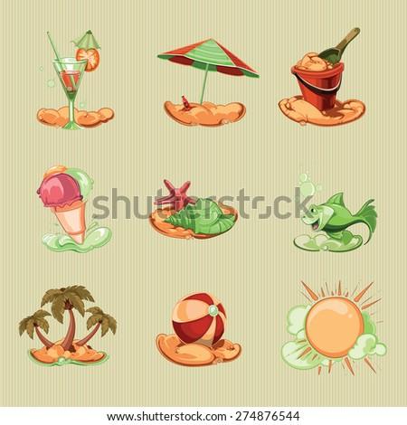 summer icon set. retro - stock vector