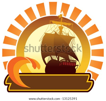 Summer icon - ship - stock vector