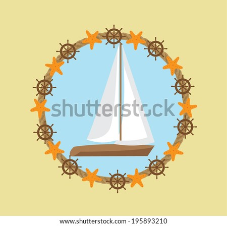 Summer icon with boat - stock vector
