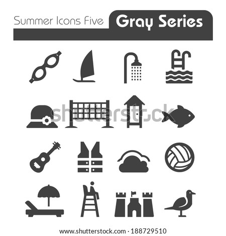 Summer Icons  Gray Series - stock vector